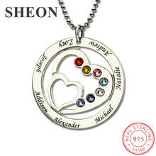 купить SHEON Heart in Heart Birthstone Family Necklace Names Engraved Personalized 925 Sterling Silver Mother Necklaces Women Jewelry по цене 1582.59 рублей