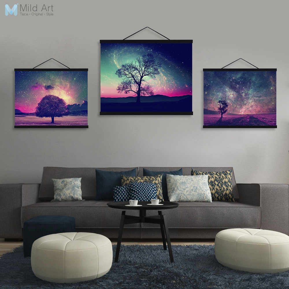 Us 8 97 47 Off Beautiful Aurora Night Sky Tree Landscape Posters Wooden Framed Canvas Paintings Living Room Wall Art Pictures Home Decor Scroll In