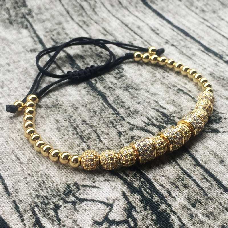Norooni 2018 Latest Style Macrame Bracelets Round Stopper Bracelets Men Gold Jewelry Beaded Luxury inlay zircon Braiding Bangles