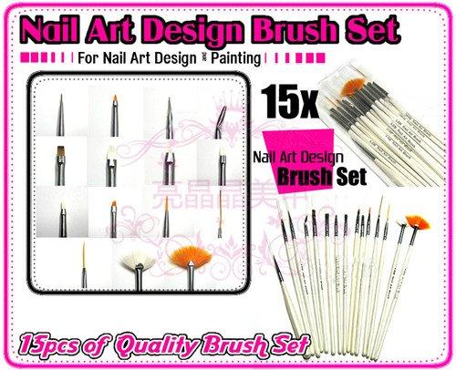 Whole 15 Pcs Nail Art Design Acrylic Brush Uv Gel Set Painting Draw Pen White Handle