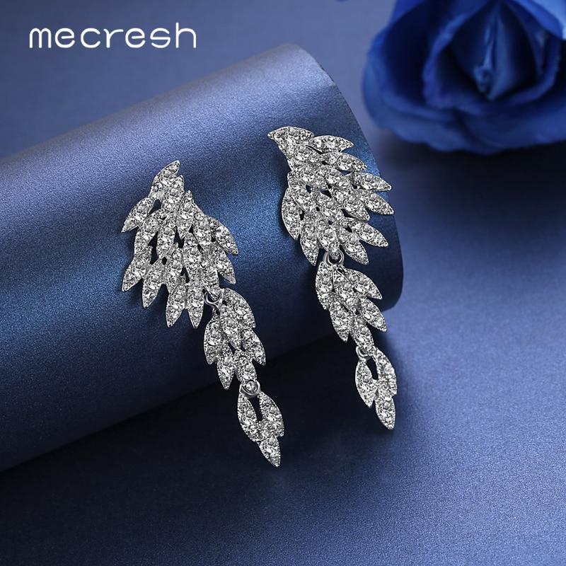 Mecresh Srebrna boja Kristalne vjenčane naušnice za žene Korejski - Modni nakit - Foto 6