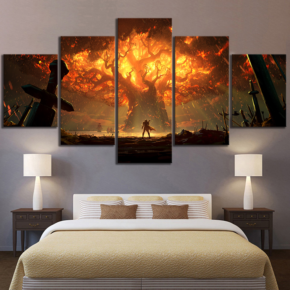 5 Piece HD Video Game World of Warcraft DOTA 2 Painting Poster Decorative Mural Art Room Wall Decor 2