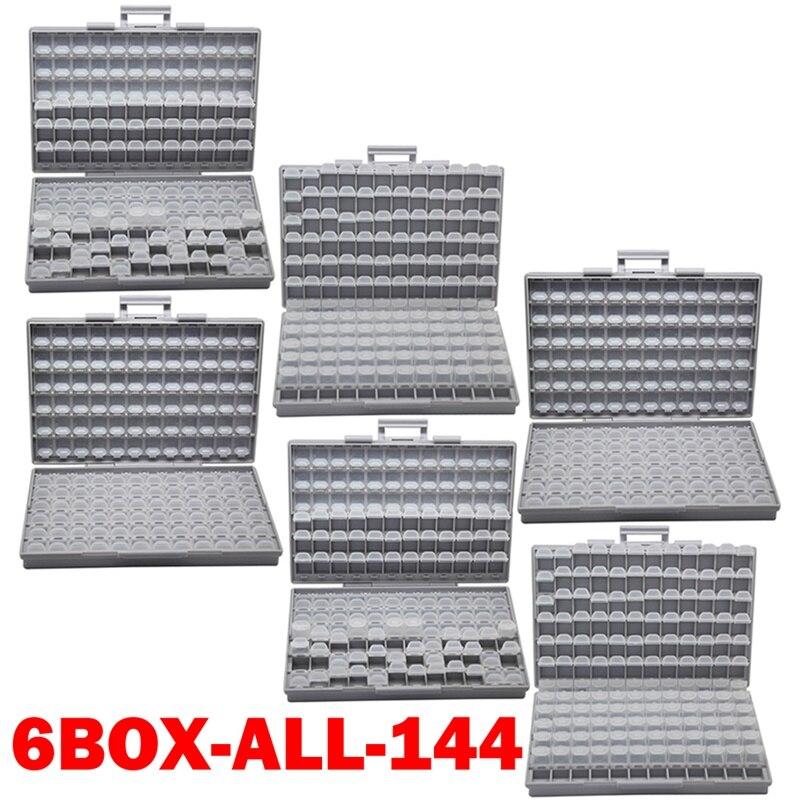 AideTek SMD хранения резистор SMT конденсатор с алюминиевой крышкой, электроника для хранения разного рода дисков и органайзеры прозрачный ящик для хранения ящик пластиковый боксал - Цвет: 6BOX-ALL-144