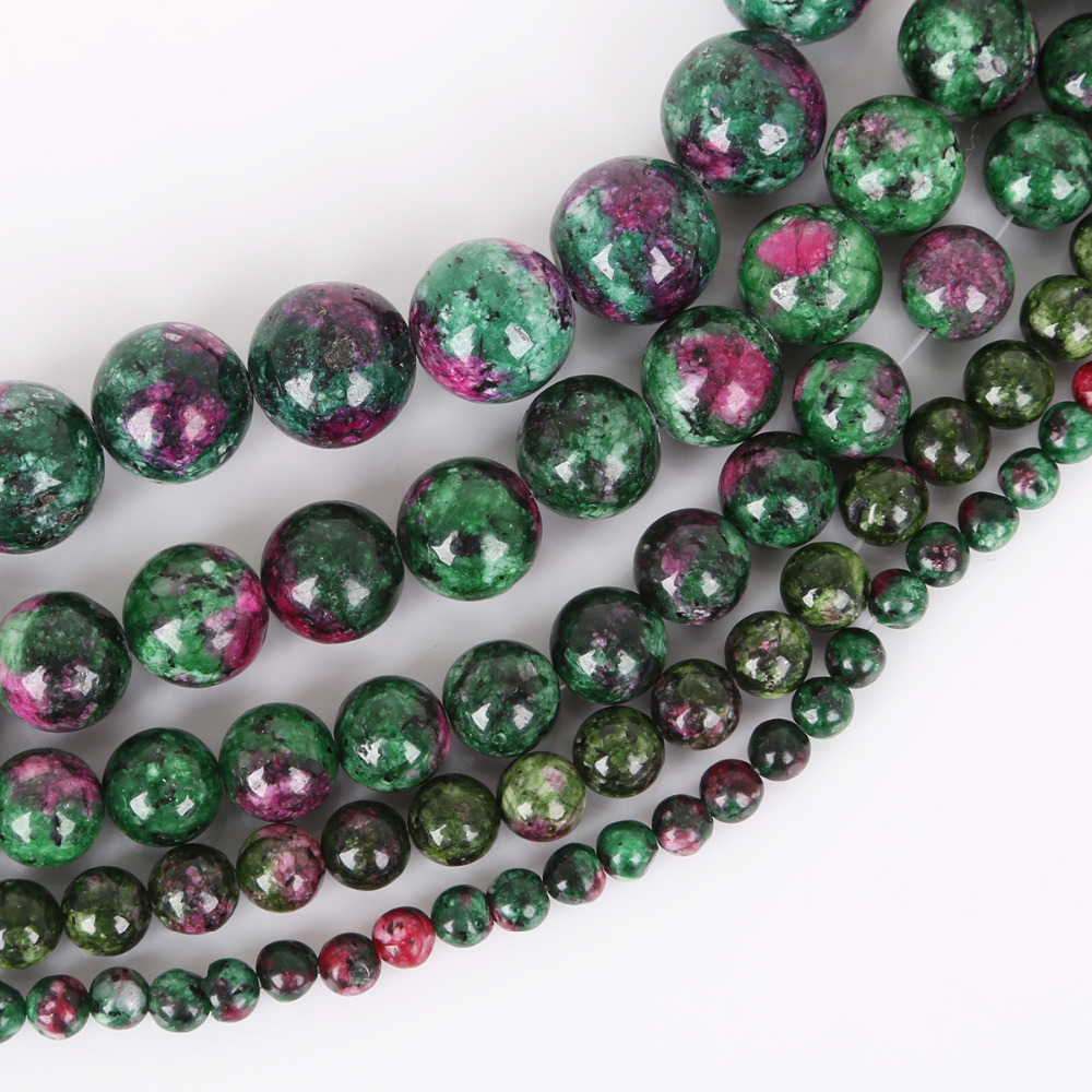 Natural Ruby Zoisite Gemstone Stone Spacer Loose Beads Jewelry Finding 4-10MM