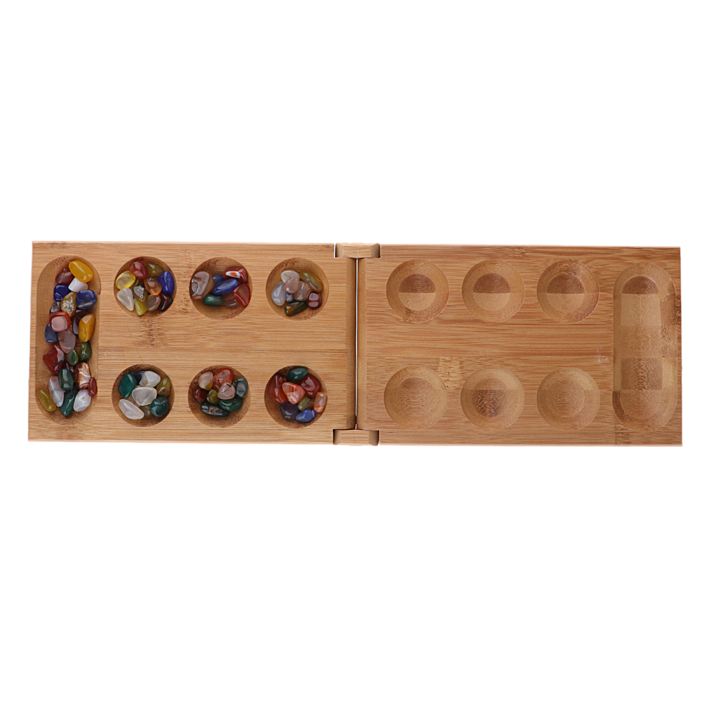 17.3 Inch Set Mancala Bamboo Agate Folding Traditional Strategy Board Game For All Ages Players