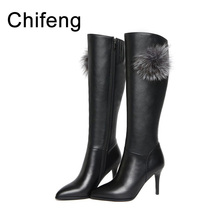 women boots women's winter shoes woman knee high black genuine leather boot womens warm high quality over knee boots