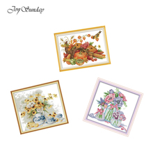 New Arrival Joy Sunday Cross Stitch Flowers Beautiful 11CT 14CT Water Soluble Canvas Printed Embroidery DIY Handmade Needlework
