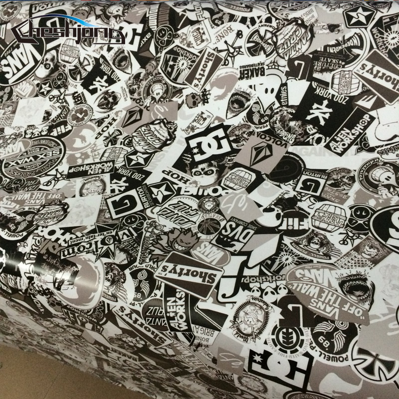 Black White Graffiti Cartoon Stickerbomb For Car Motorcycle Scooter Scateboard Helmet DIY Decal Vinyl Wrap Adhesive Film Sheet In Stickers From