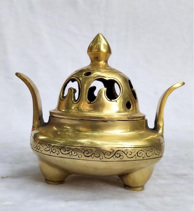 Collection brûleur d'encens sculpté en laiton chinois décoration d'art domestique encensoir en métal