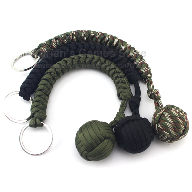 Paracord Key Chain With Self-defense Steel Ball 24cm 7-core Outdoor Equipment Parachute Cord Rope Keychain Wild Survival