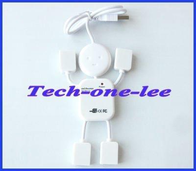 PC Mini 4 Port USB Hub Man adaptor 2.0 480Mbps High Speed Cable free shipping