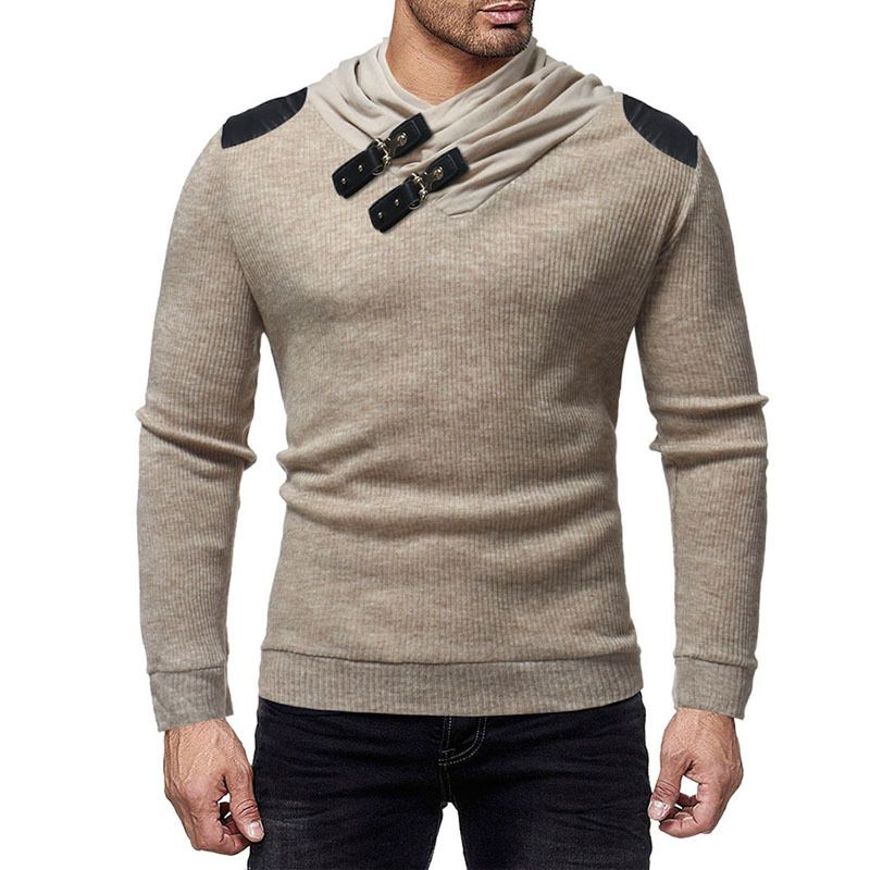 New Men Pile Collar Stitching Long Sleeve Slim Leather Buckle Decorative Solid Color Sweater Fashion Casual Top Clothes