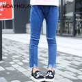 2017 SpringThe New Korean Children'S Clothing Solid Color Leisure Distressed White Washed Girl Elastic Waist Tight Fringed Jeans
