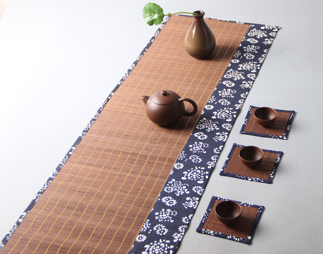 Classic Bamboo Table Cloth Runner / Bowl Pad Rectangle / Printed Japanese  Style Wholesale / Green