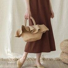 Bolsa de palha feixe portátil, chapéu de renda, bolsa casual, de mão