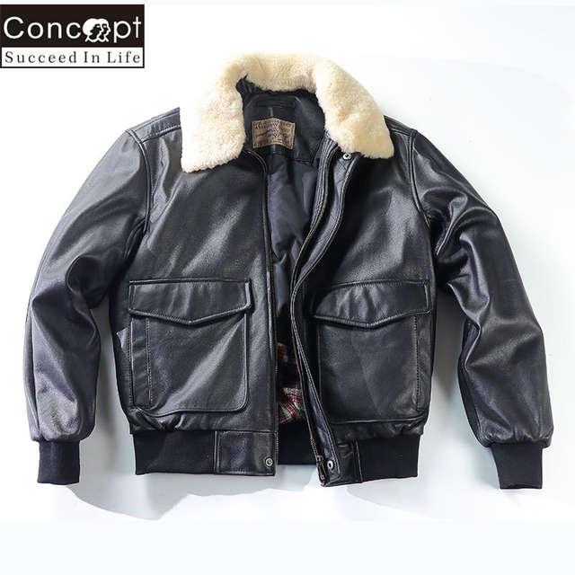 5313e428d Avirex Fly Air Force Flight Jacket Fur Collar Genuine Leather Jacket Men G1  Winter Coat Bomber Jacket Motorcycle Biker Jacket