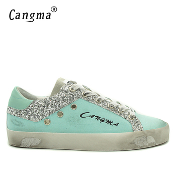 CANGMA Men Sneakers Canvas Casual Shoes Blue Genuine Leather Footwear Male Adult Designer Shoes For Men Sequin Shoe Man