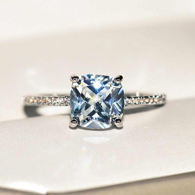 สีฟ้า Aquamarine Natural Pave เพชรสีขาวทองหมั้นแหวน Drop Shipping
