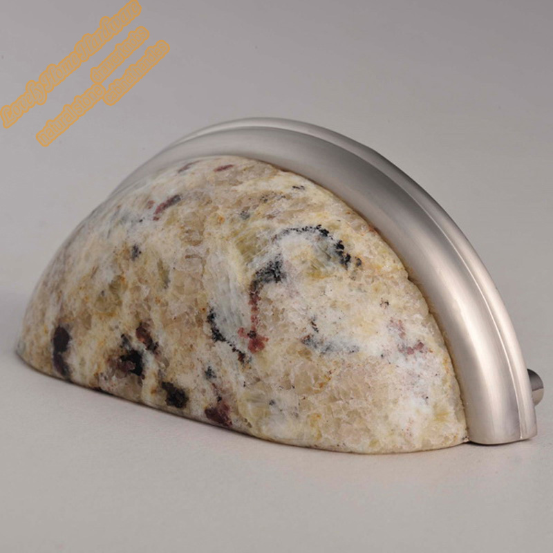 76mm Kitchen Cabinet Door Pull Handles,Decorative Furniture Hardware,Giallo  Ornamental Granite U0026 Zamak