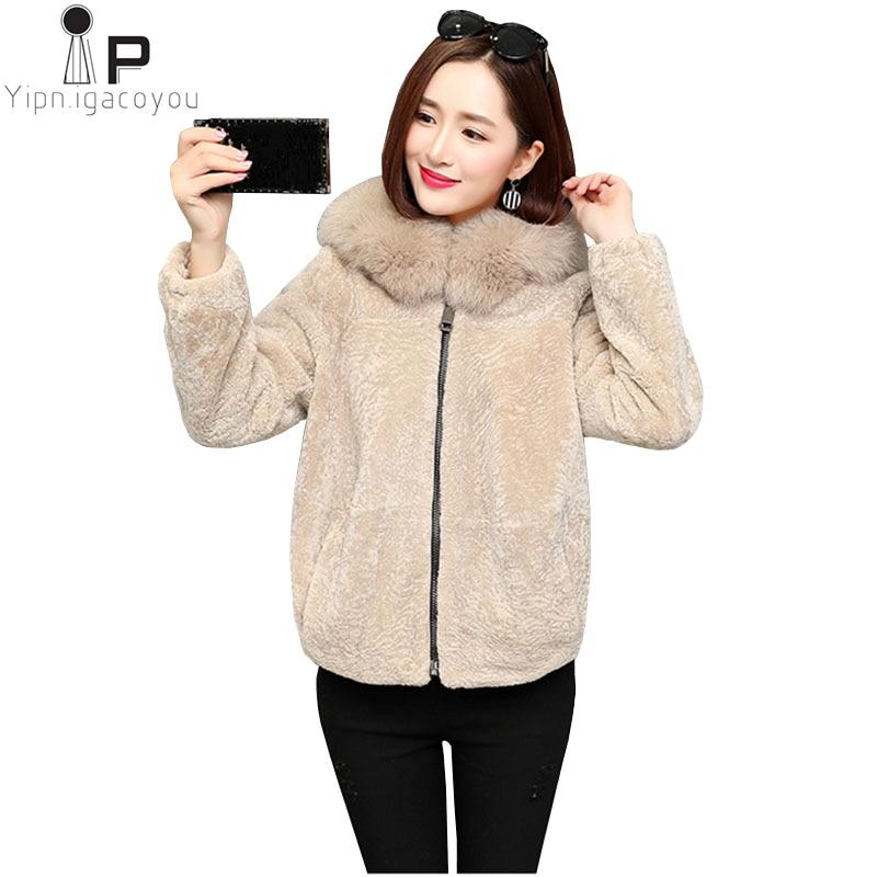 Fashion Winter Women Faux Fur Coat Plus size Big Fur ollar Hooded Wool Coat Thicken Warm Double Faced Fur Jacket Black Outwear