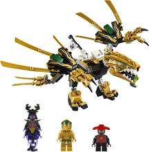 Новинка 188 шт золотой дракон строительные блоки комплекты ниндзя серии ниндзя минифиги подарки Детские праздничные игрушки