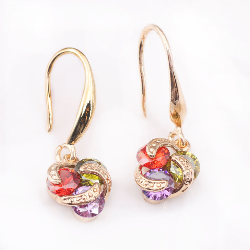 New Fashion Women Girl 39 s Gold Color Multicolor CZ Dangle Earrings Jewelry in Drop Earrings from Jewelry amp Accessories