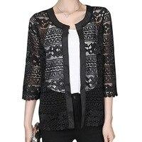 2018プラスサイズの女性服レディースホワイトレースブラウス夏カーディガンコート黒かぎ針編みセクシーな女性ブラウスシャツ