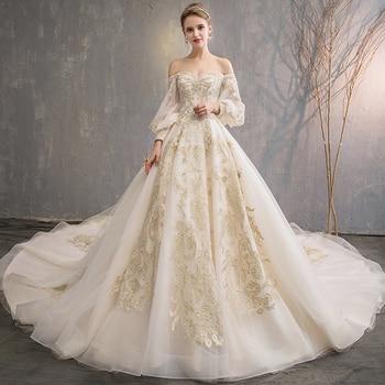 2018 Haute Couture Ball Gown Women Wedding Dress Golden Appliques Bridal Gowns Beading Big Train vestidos de noiva Wedding Dresses