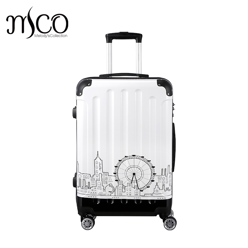 Just Star Women Town printing Spinner trolley luggages travel case Girls Rolling ABS+PC Hardside TSA Lock Boarding Luggage case wholesale retro abs pc hardside case aluminum alloy frame 26 inch luggage on universal wheels high quality tsa lock trolley box