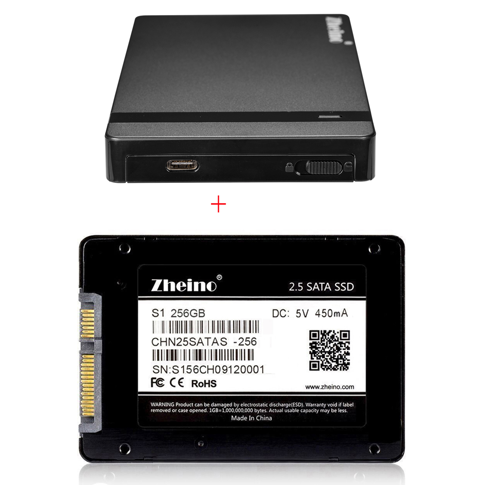 Zheino Hot S1 2.5 SATA 256GB SSD interna Solid Disk Drives with USB 3.0 Type A-Type C External Hard Drive Enclosure HDD SSD Case 2 5 inch sata external storage hdd enclosure box hdd case sata to usb 3 0 hard drive disk with usb cable faster transfer rate
