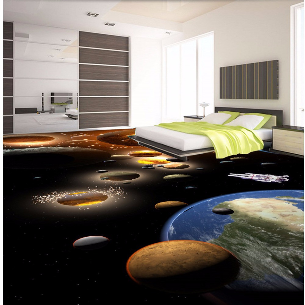 ФОТО Free Shipping 3D planet floor wallpaper mural bedroom bathroom commercial street floor non-slip wear painting sticker