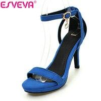 ESVEVA 2017 Blue Party Ankle Strap Women Sandals Kid Suede Summer Shoes Thin Heel Sandals High