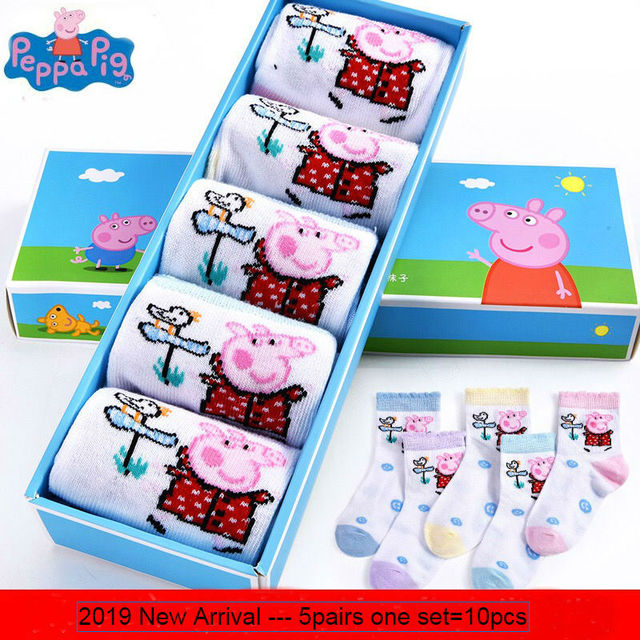 10pcs=5pairs Genuine Peppa Pig 2019 spring Autumn socks Kids Cute Boy Girl cotton socks Children Birthday gift Toy High Quality