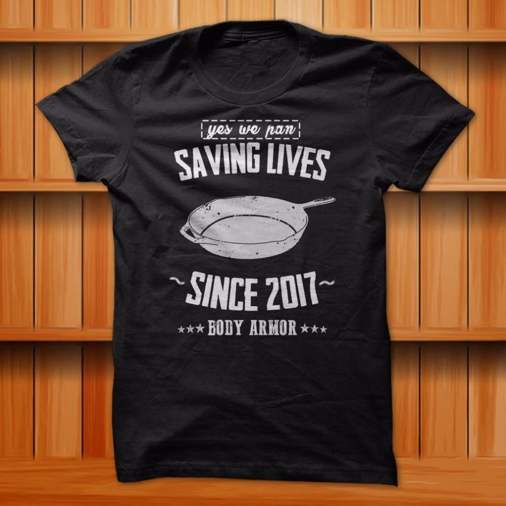 Mens Pubg Pan Saving Lives Since 2017 Meme Funny T-Shirt Black 100% Cotton S-3XL Size