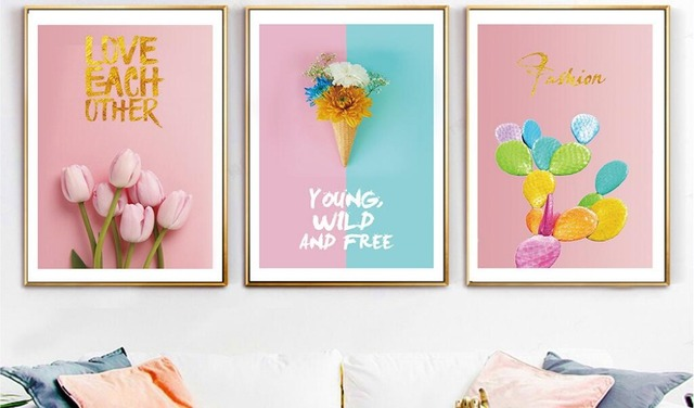 Handmade creative print painting pink tulip canvas painted color ...