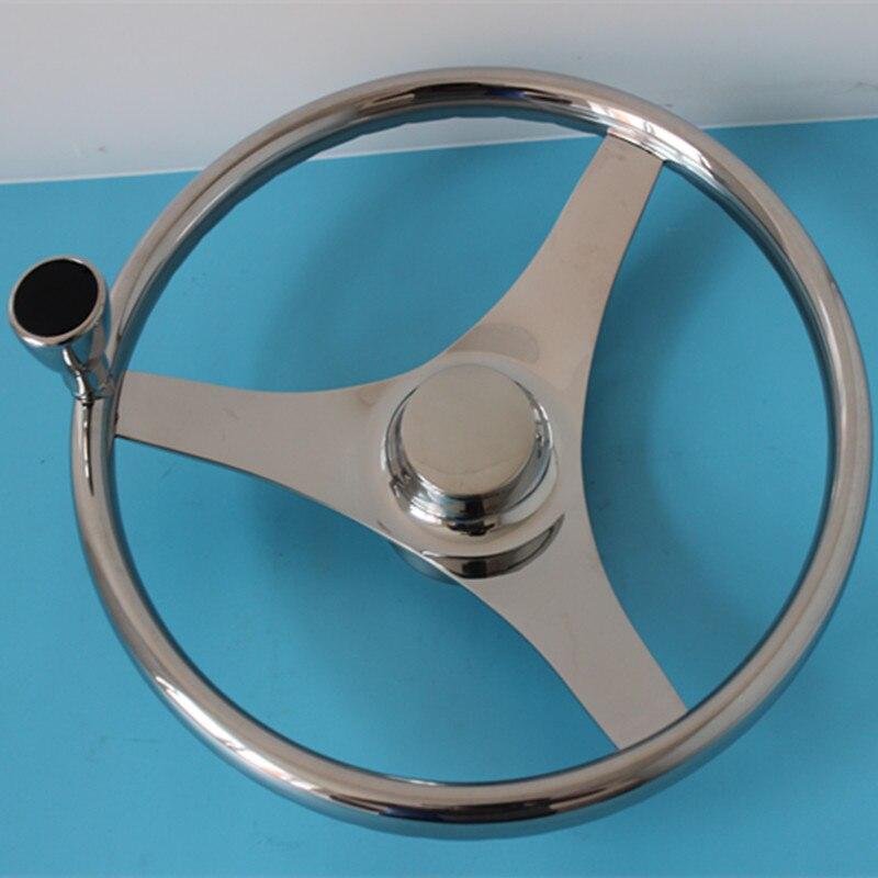 13.5 inch Boat Marine Stainless Steel Steering Wheel 3 Spoke Style With Knob