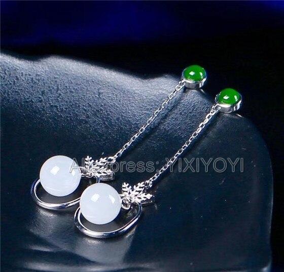Beautiful 925 Sterling Silver Green White HeTian Jade Round Beads Dangle Lucky Ear Earrings Girl s