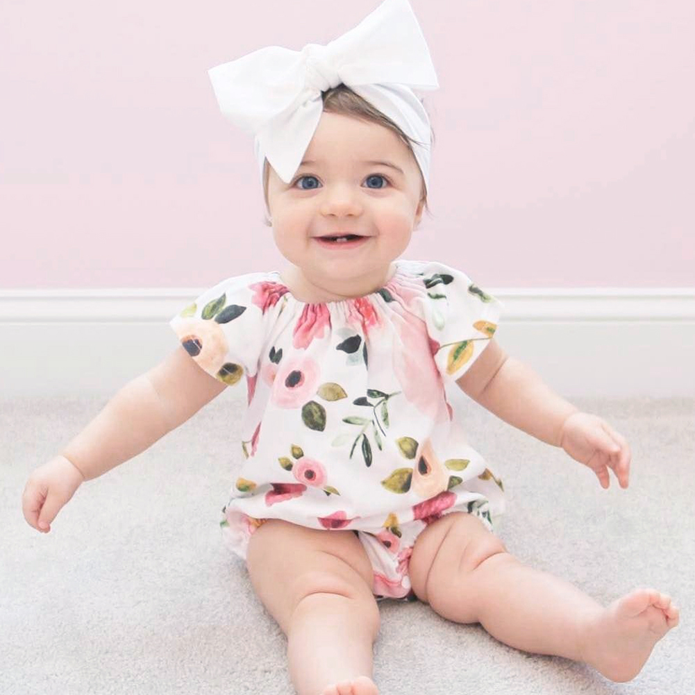 Fashion Infant Baby Girls Clothing Short Sleeve Flower Printed Romper Jumpsuit Playsuit Summer Baby Girl Romper baby clothing summer infant newborn baby romper short sleeve girl boys jumpsuit new born baby clothes