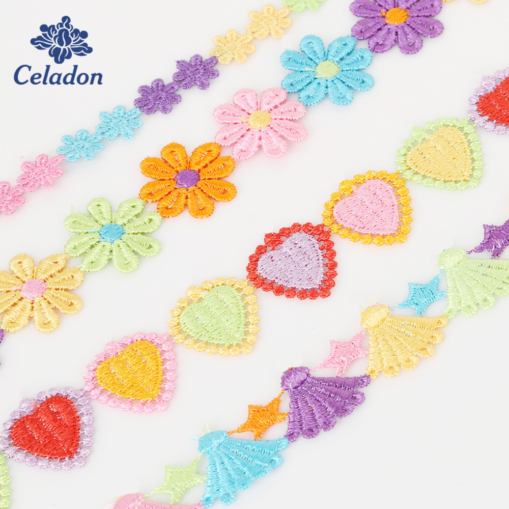 25mm DIY Embroidered Daisy Lace Trim Ribbon Handicrafts Sewing Crafts 3 yd