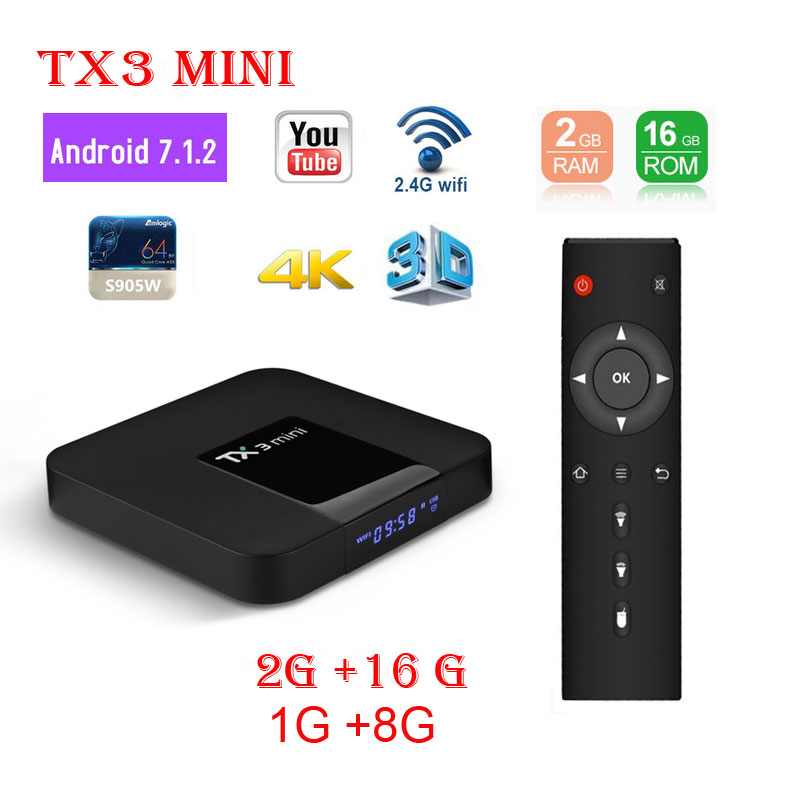 <font><b>Tanix</b></font> <font><b>TX3</b></font> <font><b>mini</b></font> Android 7.1 Set Top Box 2GB 16GB ROM Amlogic S905W iptv Youtube 2.4G WIFI 4K H.265 1080P Media Player TV Box <font><b>TX3</b></font> image