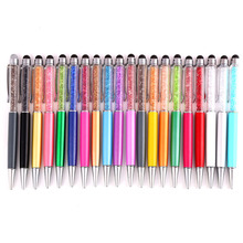 2pcs/lot hot sale crystal metal ballpoint pen mobile touch functional gift
