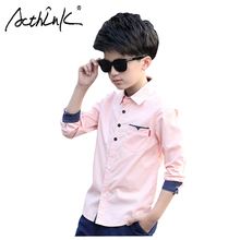 ActhInK New Boys Pink Dress Shirts Formal Wedding Kids Long Sleeve Solid Cotton