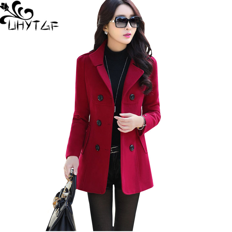 UHYTGF Fashion Winter Jacket Women's Double Breasted Short Wool Coat Solid Color Korean Slim Female Woolen Jacket Plus Size 1150