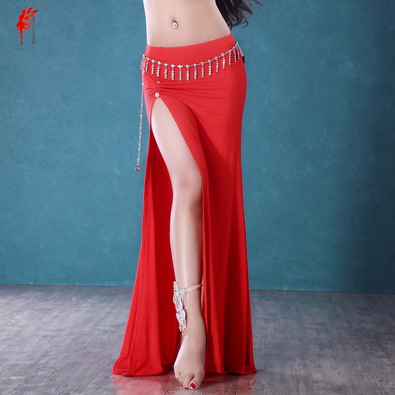 Women Belly Dance Clothes Sexy Cotton Split Belly Dance Skirt For Girls Dance Skirt Lady Belly Dance Clothes Skirt M/L/XL
