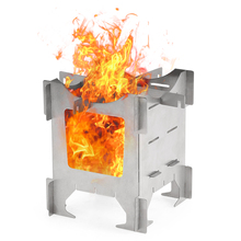 Lightweight Titanium Folding Wood Stove Outdoor Camping Picnic Cooking Backpacking Furnace