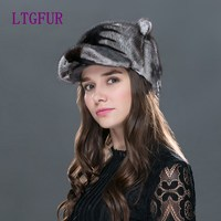 The Whole Skin Mink Fur Hats LTGFUR Brand Women's Hat Fashion Warm Style High Quality Beanies Knit Fur Caps For Women WZD 05