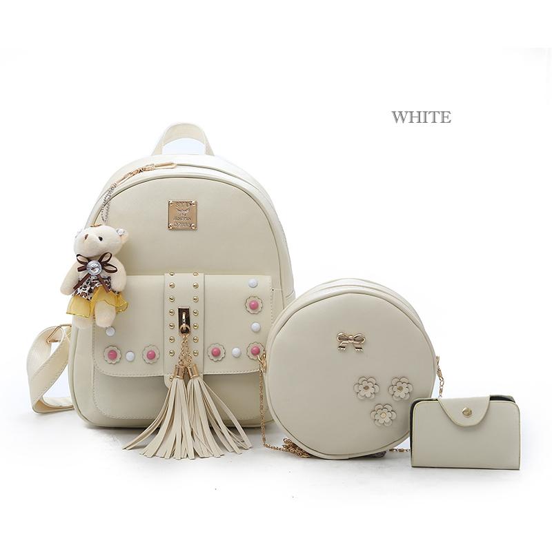 Backpack Female 3 Piece Combination Composite Bag Bear Hanging Inlaid Imitation Diamond Tassel Fashion Casual Shoulder Bag 53