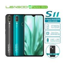"""アンドロイド 9.0 leagoo S11 スマートフォン 6.3 """"水滴フルスクリーン 8MP + 13MP 4 ギガバイト + 64 ギガバイトオクタコアグローバル lte バンドデュアル 4 グラム携帯電話"""