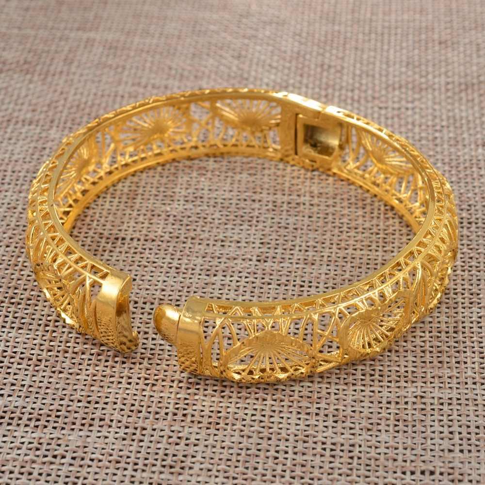 Anniyo, 4 шт., дубайское сердце, браслеты для женщин, эфиопские свадебные браслеты, 24 K, золотой цвет, африканские ювелирные изделия, арабские свадебные подарки #069602