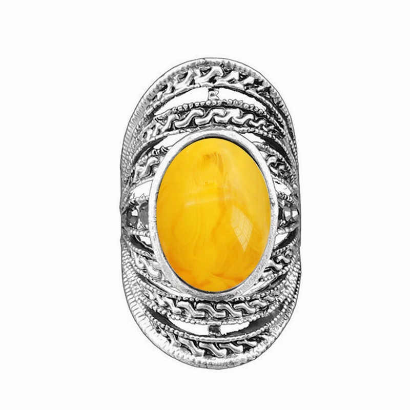Vintage Oval Simualted Beeswax Rings For women Antique Silver Plated Hollow Design Rhinestone Rings Fashon Jewelry TR669